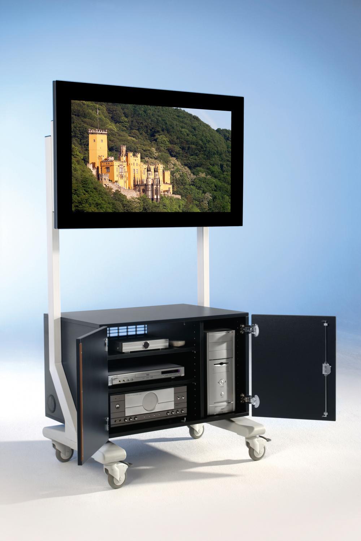 SCXL-S60GTN TV cart on wheels, TV rack up to 70